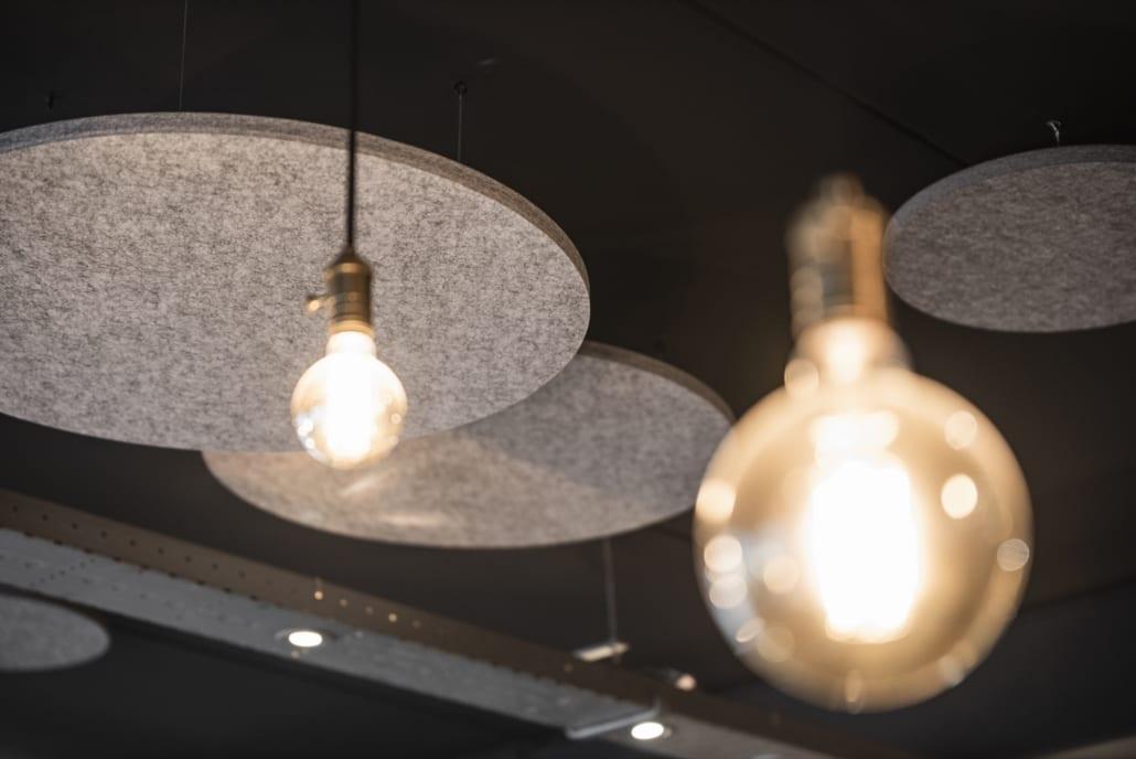 Detail PETAC® silver wool felt acoustic ceiling panels