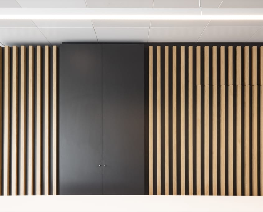 Detail acoustic cabinet doors and wall with framework for office space x-wift
