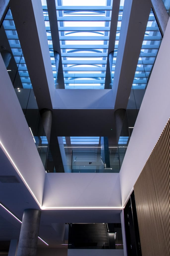 Free-hanging acoustic PETAC® baffles in the entrance hall of Stow