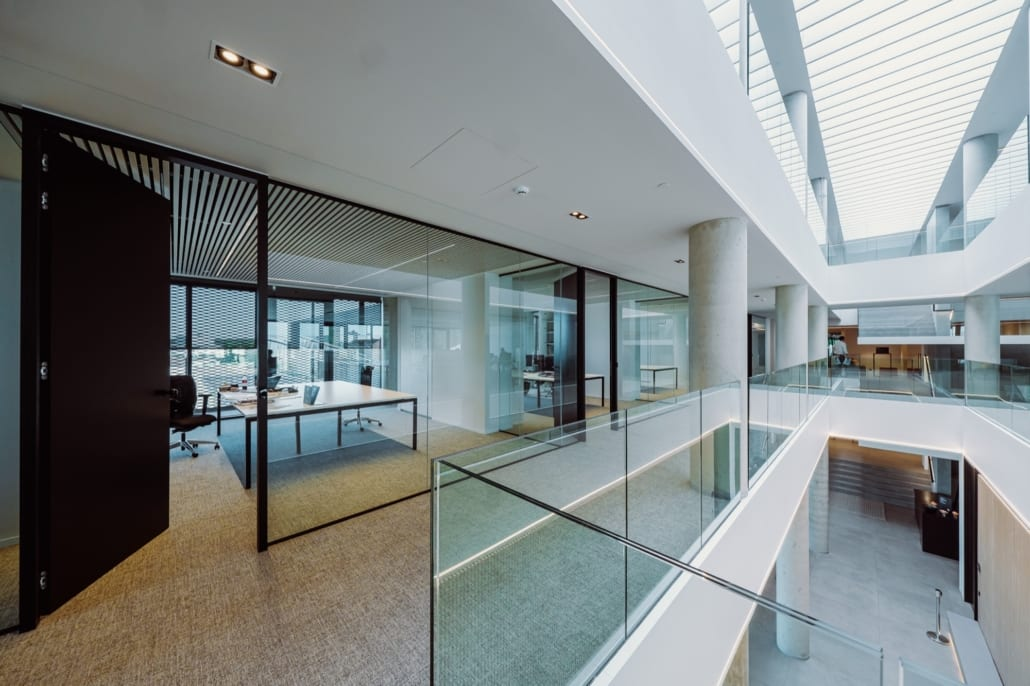 Overview of the acoustic ceiling solution in the Stow office building