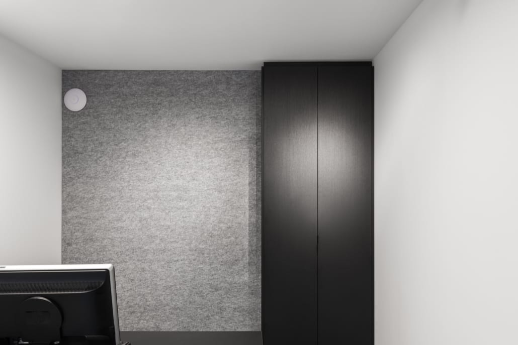 Acoustic wall in separate office of intra interior - interior architects