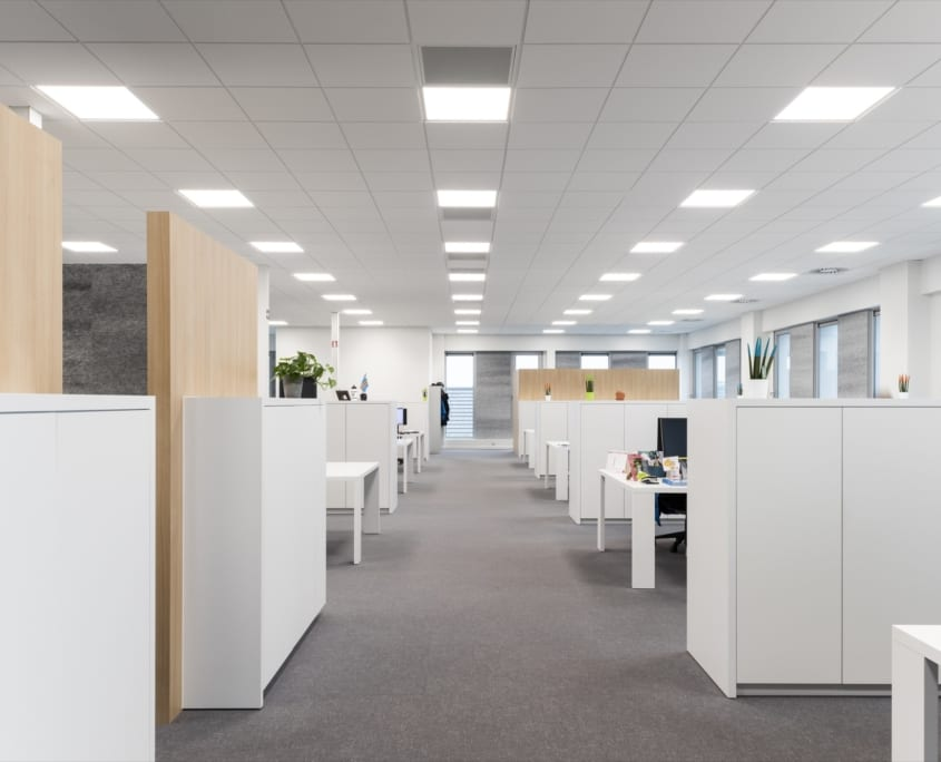 Acoustic walls in a landscape office