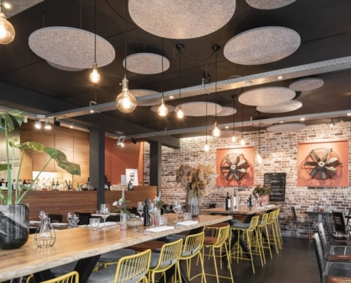 playful, acoustic and decorative custom ceiling islands for a restaurant