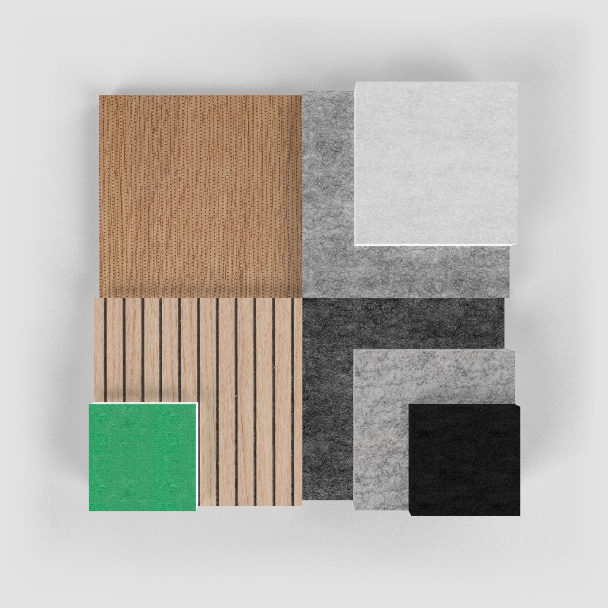 Samples of the different finishing options of PETAC ©
