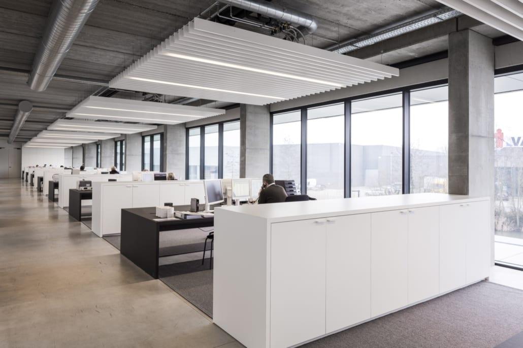 White PETAC © acoustic baffles in open open plan office