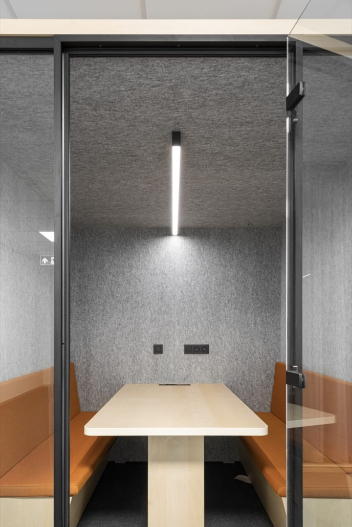 A closed pod with acoustic walls for office space