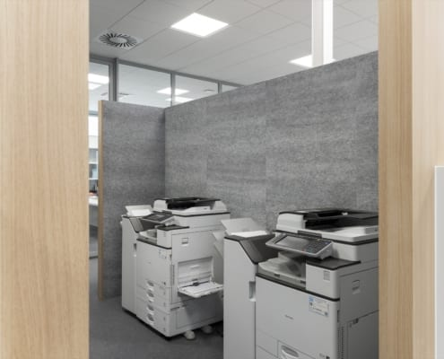 Acoustic silver walls in office copy space