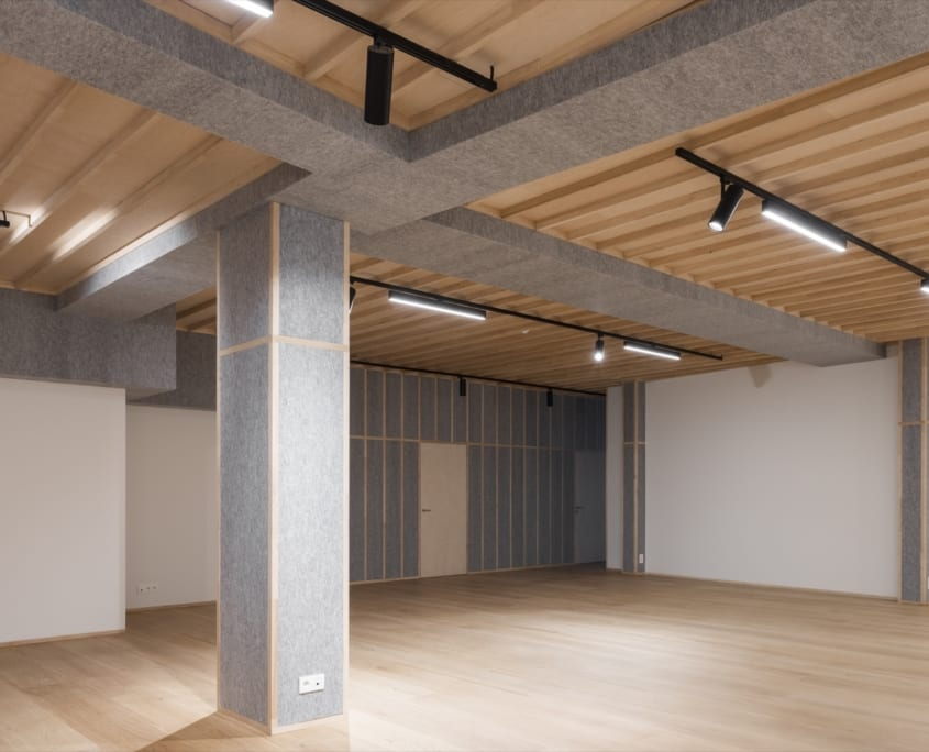 Acoustically optimized office space with PETAC® walls and ceiling